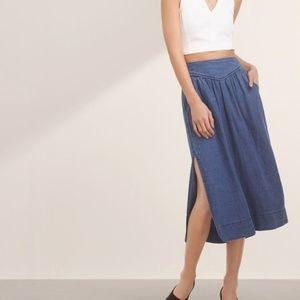 Aritzia Wilfred Gabrielle Chambray Denim Skirt